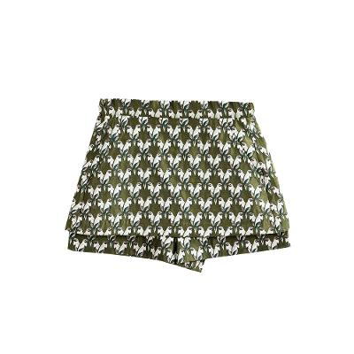 bird pattern mini skirt khaki